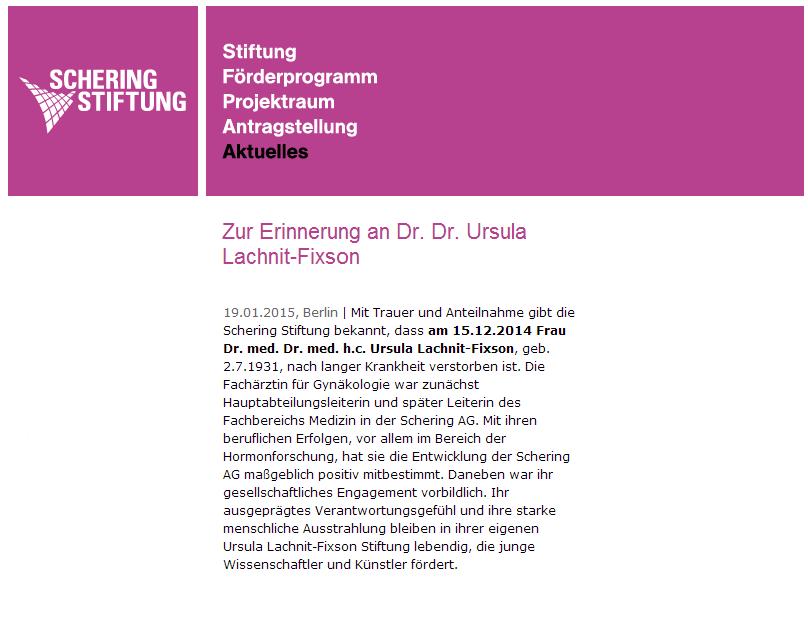 Nachruf Schering Stiftung